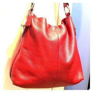 💕 Coach bright red leather xl hobo bag 💕